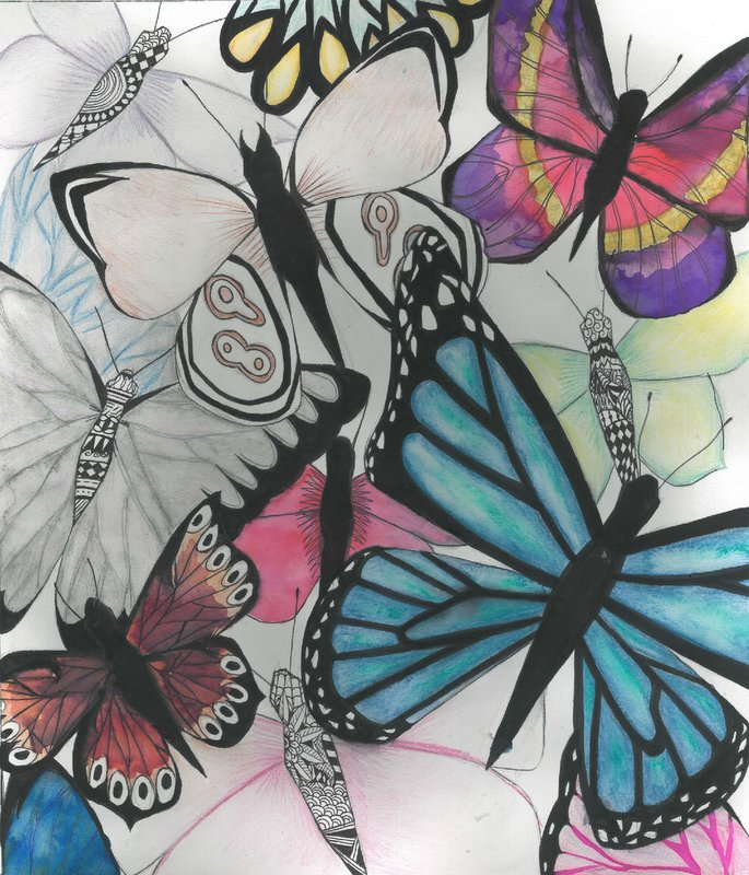 'Tropical Wings' by India Windsor, for the 2017 dot art competition. Drawing inks, watercolour and pen.