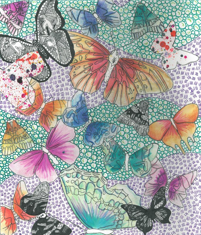 'Flying High' by Ellie Rose Watts, for the 2017 dot art competition. Drawing inks, watercolour and pen.