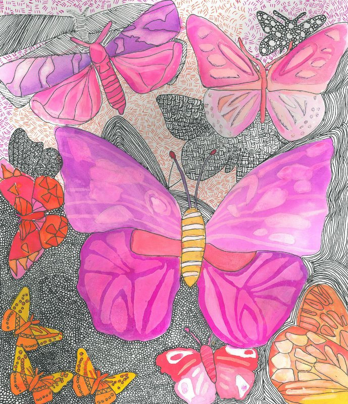 'Pink Paradise' by Caitlin Moore, for the 2017 dot art competition. Drawing inks, watercolour and pen.