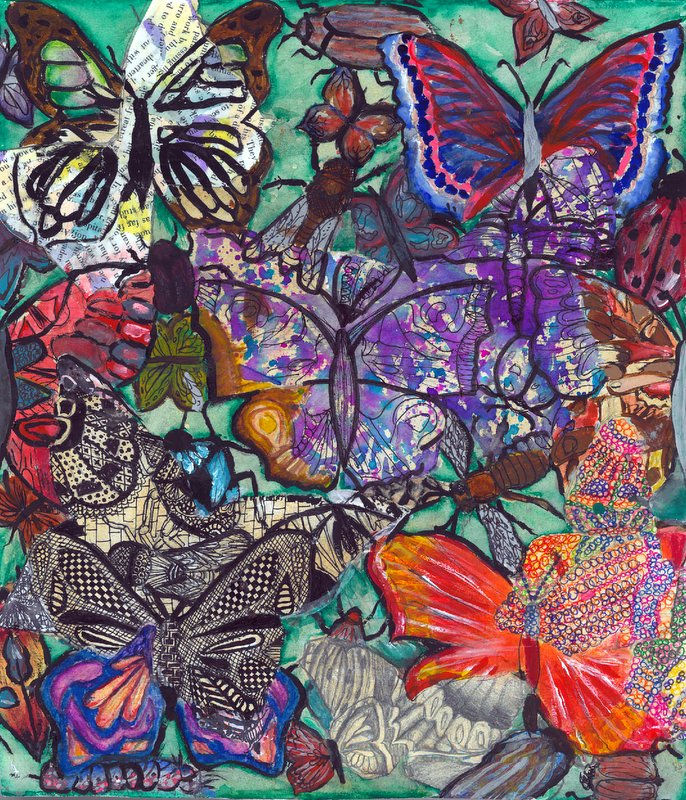 'Wings of Paradise' by Molly Sullivan, for the 2017 dot art competition. Mixed media.